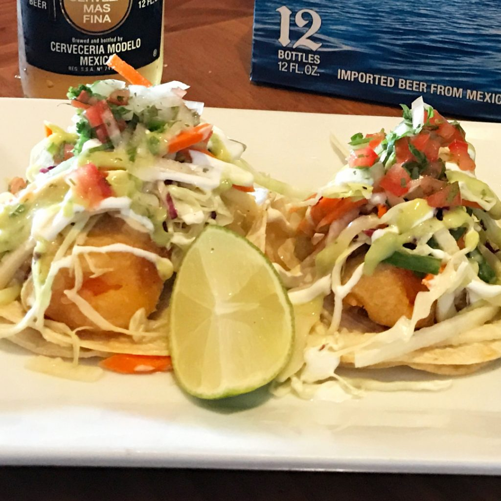 two beer battered baja fish tacos