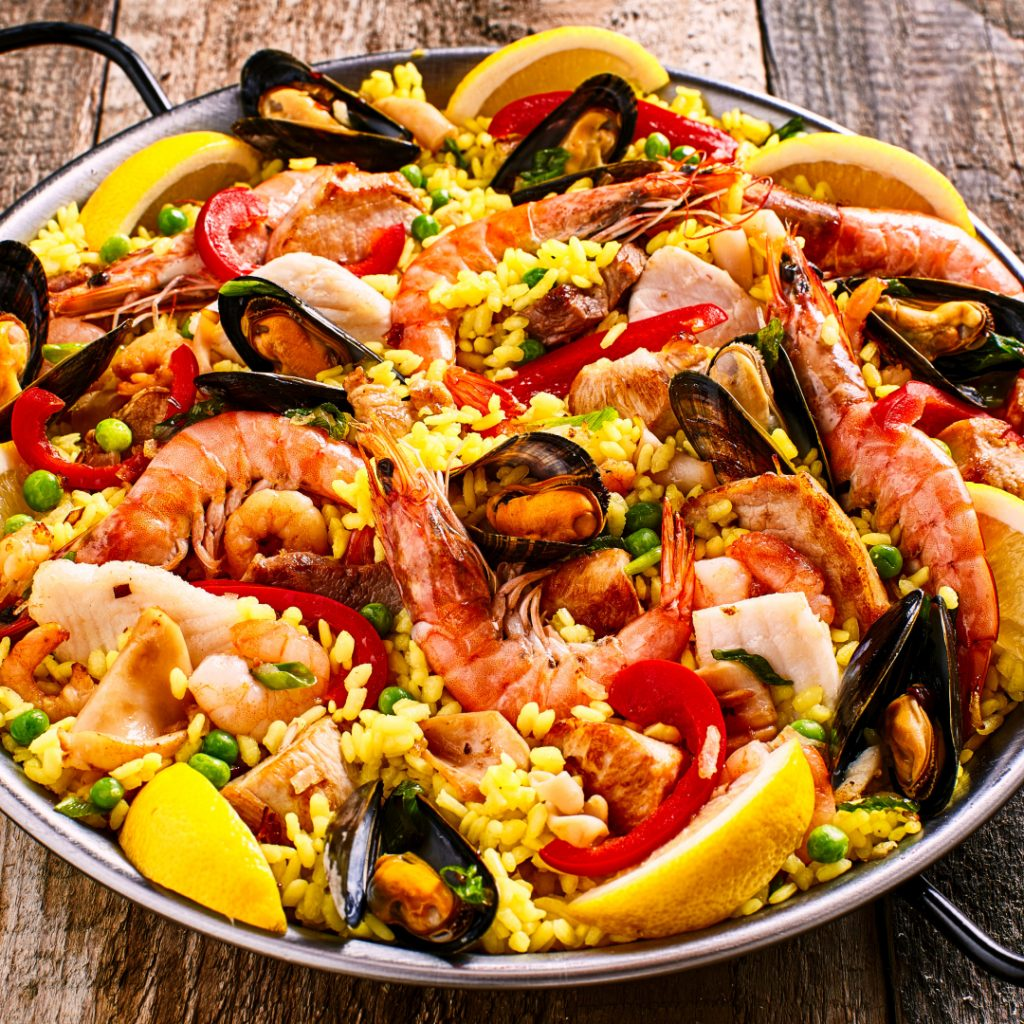mixed shellfish paella