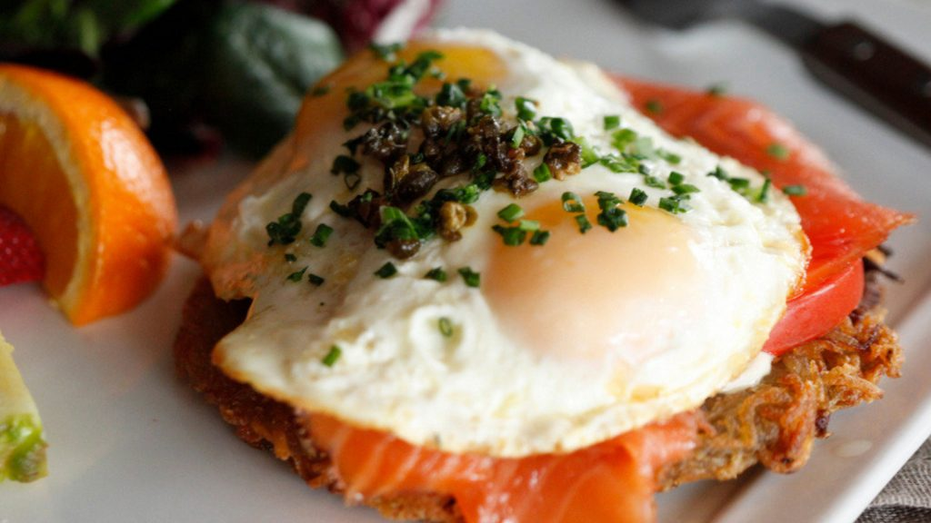 smoked salmon potato rosti brunch plate