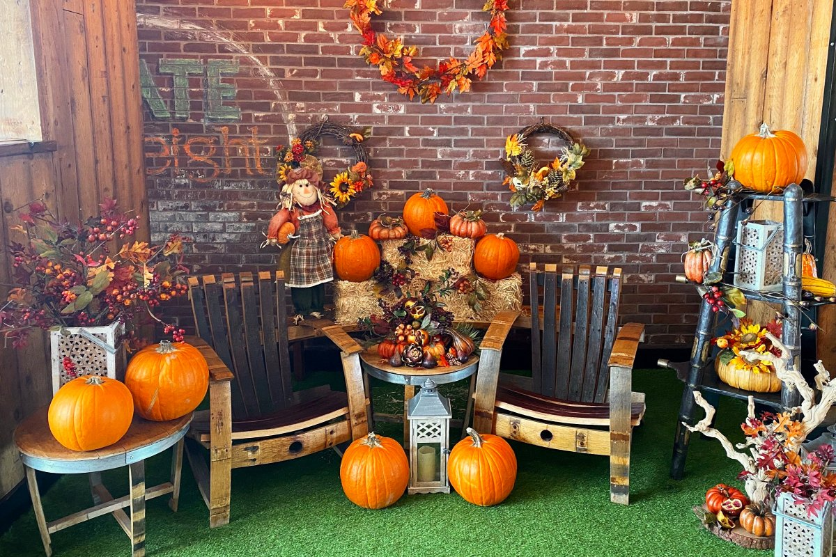fall photo booth 2 wine barrel chairs
