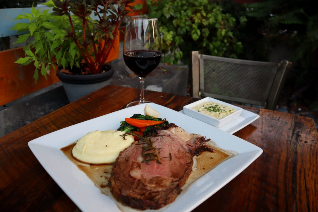 prime rib dinner outdoor dining