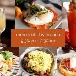 variety of sweet and savory brunch plates for memorial day brunch, bottomless mimosas, bloody marys
